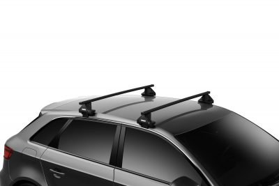 image of thule square bar installed on a car